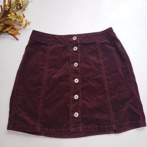 Arizona Jeans Burgundy Corduroy Button Down Skirt